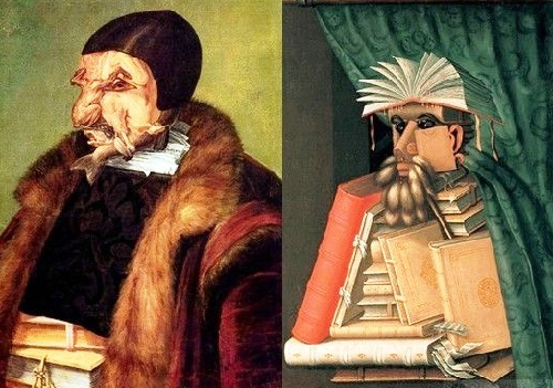 Forgotten genius Giuseppe Arcimboldo. A series 'Profession', 'Lawyer and Librarian'