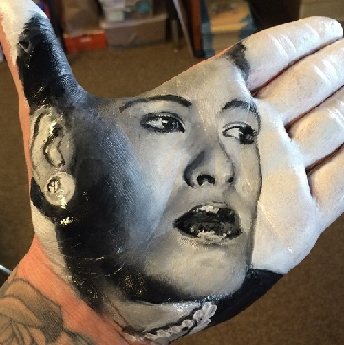 Billie Holiday. Painting on palm