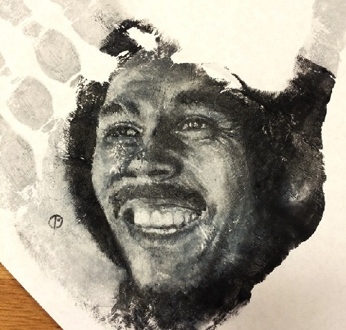 Bob Marley hand-stamp. Art by Russell Powell