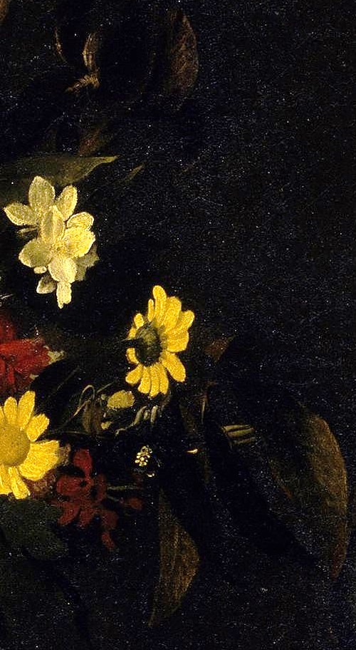 Symbols of Lute Player by Caravaggio. Detail - flowers