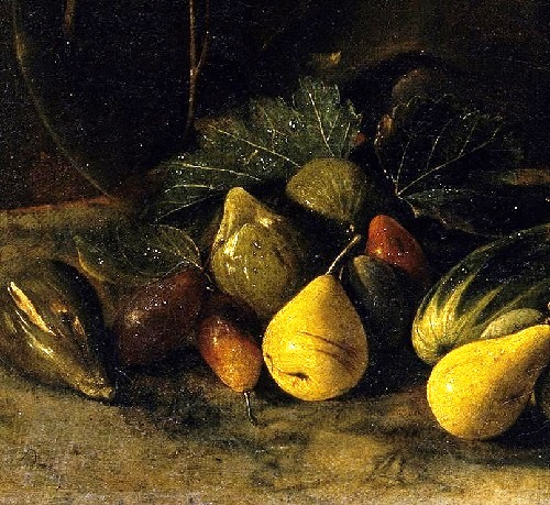 Symbols of Lute Player by Caravaggio. Detail - fruits. The Lute Player by Michelangelo Caravaggio