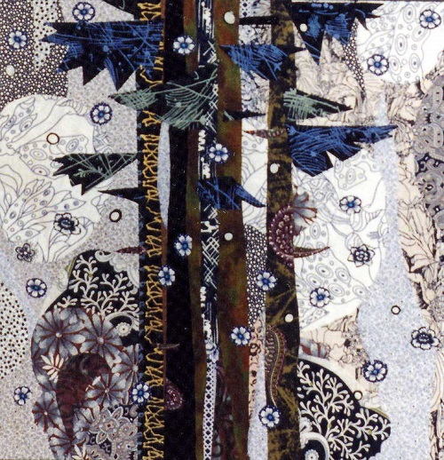 January. Textile collage by Russian artist of applied art Valentina Maximova