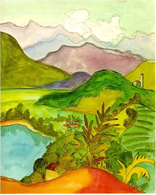 Hermann Hesse landscape watercolors. Lake and mountains