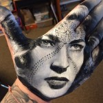Lauren Bacall. Painting on palm. Art by Russell Powell