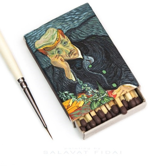 Mini copy of Van Gogh painting 'Portrait of Dr. Gachet' on the box of matches