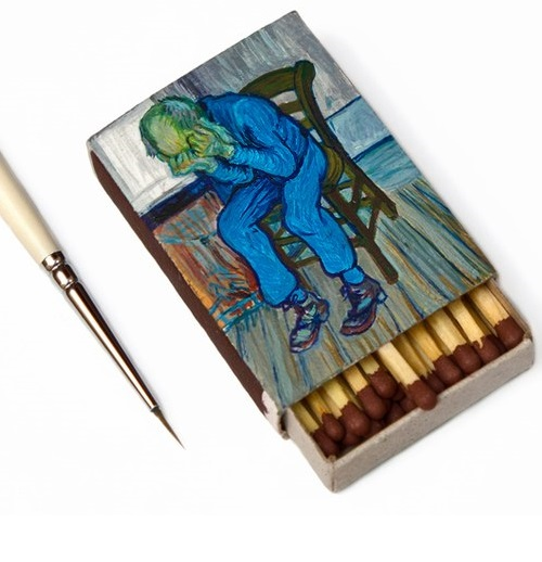 Mini copy of the painting of Van Gogh 'At the gates of eternity' on the box of matches