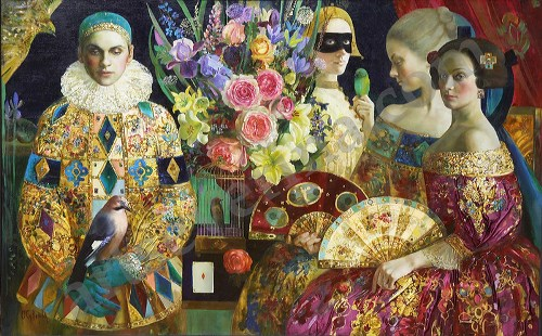Fans and flowers. Painting by Olga Suvorova