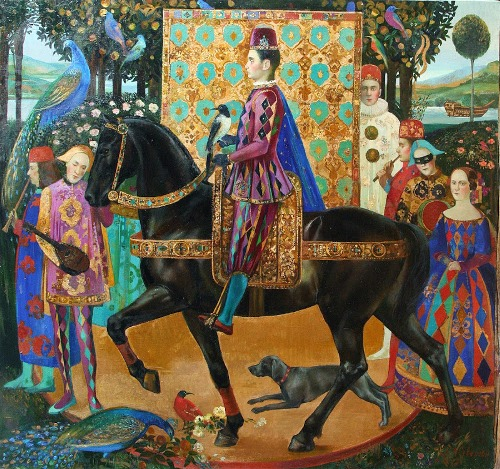 On a black horse. Painting by Olga Suvorova