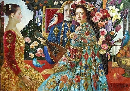 Portraits of costumed characters in the interiors of different eras. Painting by Olga Suvorova