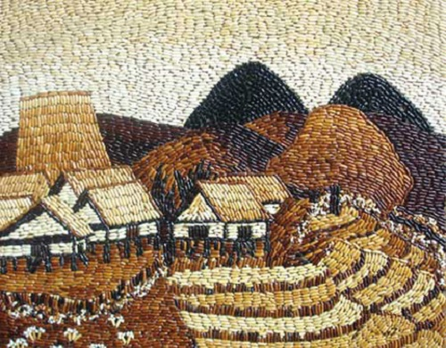 Rice grain mosaics by Ngoc Linh art studio, Ho Chi Minh City, Vietnam