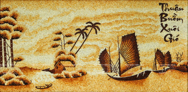 Boats on the river. Rice grain painting by Ngoc Linh art studio, Ho Chi Minh City, Vietnam