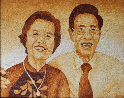 Vietnamese Rice grain painting