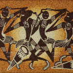 Dancing Africans. Rice grain painting by Ngoc Linh art studio, Ho Chi Minh City, Vietnam