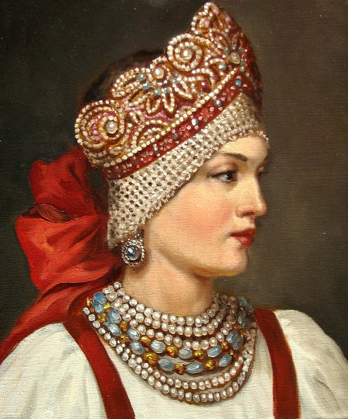 Russian Beauty in a folk costume. Painting by Andrey Shishkin