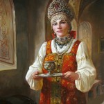 Young woman in a traditional folk costume. Painting by Andrey Shishkin
