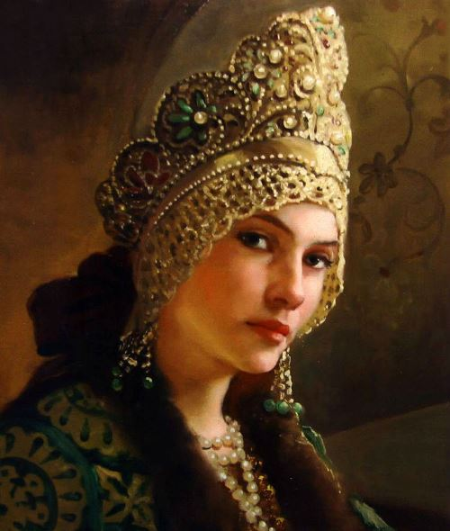 Portrait of a beautiful girl in kokoshnik – traditional Russian headwear