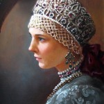 Gorgeous young lady in decorated with pearls and beads headwear