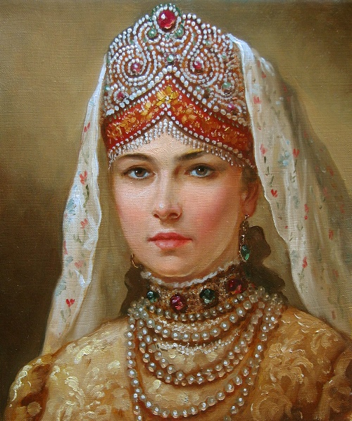 Portrait of a Russian Beauty in a folk costume