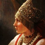 Peasant woman in a folk costume. Painting by Andrey Shishkin