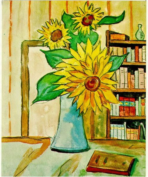 Hermann Hesse landscape watercolors. The sunflowers in a vase