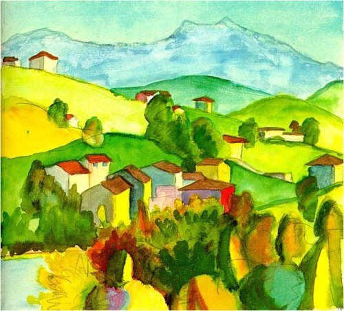 Hermann Hesse landscape watercolors. Village, hills, mountains