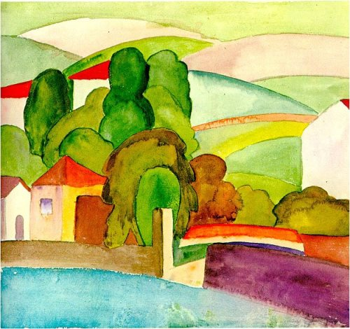 Hermann Hesse landscape watercolors. Zurich Motive