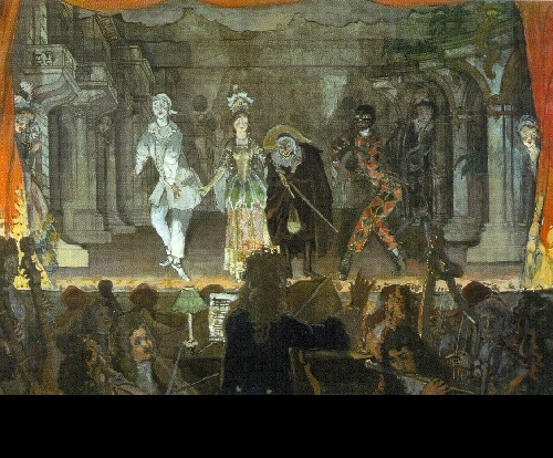 Alexander Benois. Italian comedy Billet Doux, 1905. World of Art movement for theater