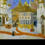 Kremlin Square. Set design by Alexander Golovin for Act I of Mussorgsky's Boris Godunov (St. Petersburg, Mariinsky Theater). 1911. Watercolor and pen and ink on paper. Russian museum, St. Petersburg
