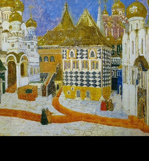Alexander Golovin. Kremlin Square. Set design for Act I of Mussorgsky's Boris Godunov (St. Petersburg, Mariinsky Theater). 1911. World of Art movement for theater