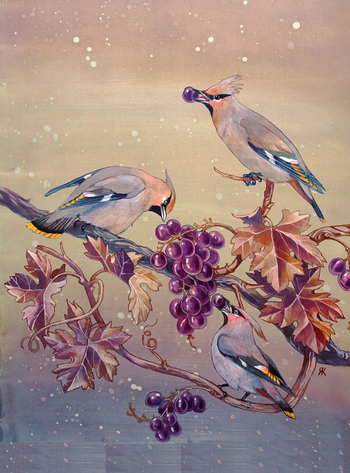 Batik scarf waxwings on the vine