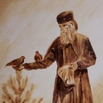An old man feeding birds. From the series Easter
