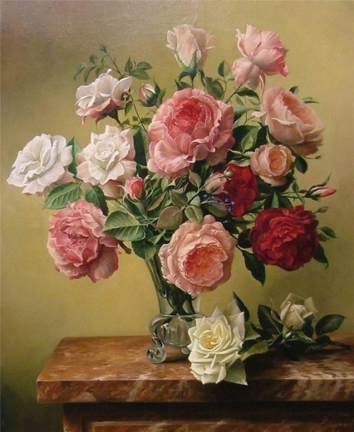 Realistic painting of flowers. Still life