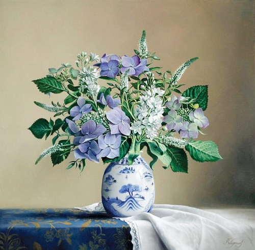 Blue vase with flowers. Still life painting by Pieter Wagemans