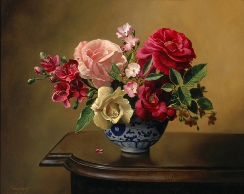 Beautiful roses, still life painting by Pieter Wagemans