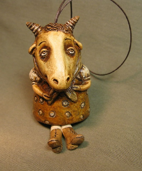 Goat 'Vintage'. Bell, stylized antique. Author ceramics. White clay