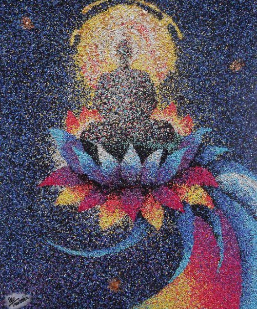 Granulated colored sand painting. Art by Ako Tsubaki