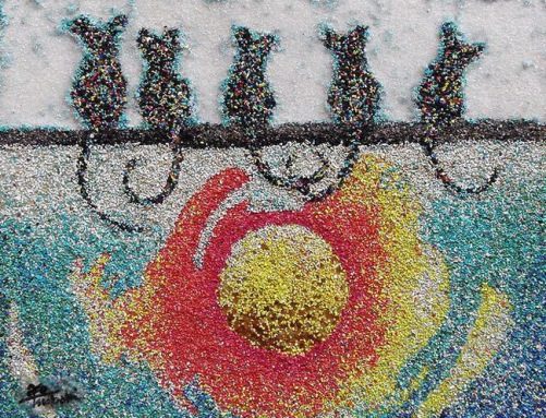 Colored sand art by Ako Tsubaki