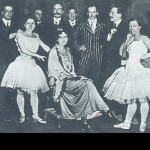 Ida Rubinstein (seated center), Michel Fokine, Leon Bakst, and Olga Preobrajenska (standing at right) with latin singers at La scala, Milan. 1910s