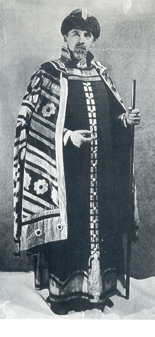 Ivan Bilibin in a Russian costume made after his design for Igor Stravinsky's The Firebird, Paris