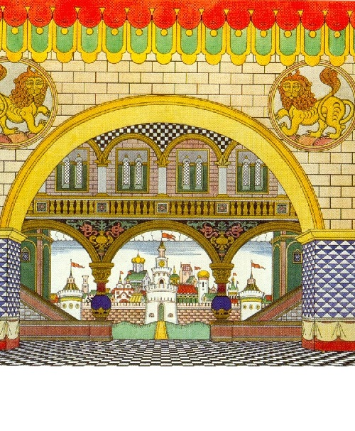 Dadon's Palace. Set design by Ivan Bilibin for Act 1 of Rimsky-Korsakov's The Golden Cockerel (Zimin's Opera House). 1909. Pushkin Museum