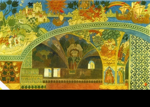 Ivan Bilibin. The Chambers of the Novgorod Fraternity. Set design for scene 1 of Rimsky-Korsakov's Sadko (St. Petersburg People's House Theater). 1913. World of Art movement for theater