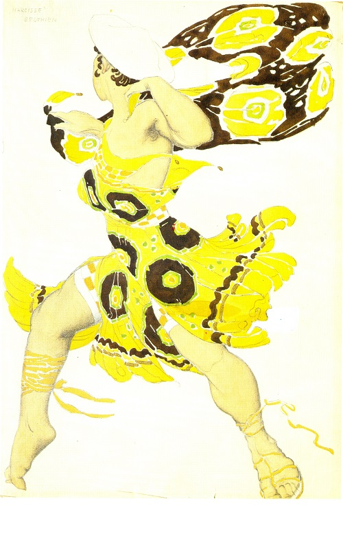 Bœotian in Tcherepnin's ballet Narcisse (Diaghilev Company). Costume design by Leon Bakst. 1911. Watercolor and lead pencil on paper. Theater Museum, St. Petersburg