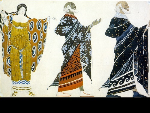 L. Bakst. Costume design for Sophocles' tragedy (Edipus at Colonus (St. Petersburg, Alexandrinsky Theater). 1904. Watercolor and pencil. Bakhrushin Theater Museum, Moscow