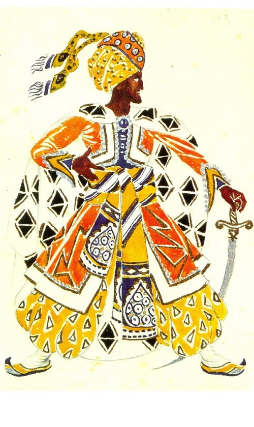 Costume design by Leon Bakst for the Blue God in Hahn's Le Dieu Bleu (Diaghilev Company). 1912. Watercolor, gouache, and gold paint on paper. Bakhrushin Theater Museum, Moscow