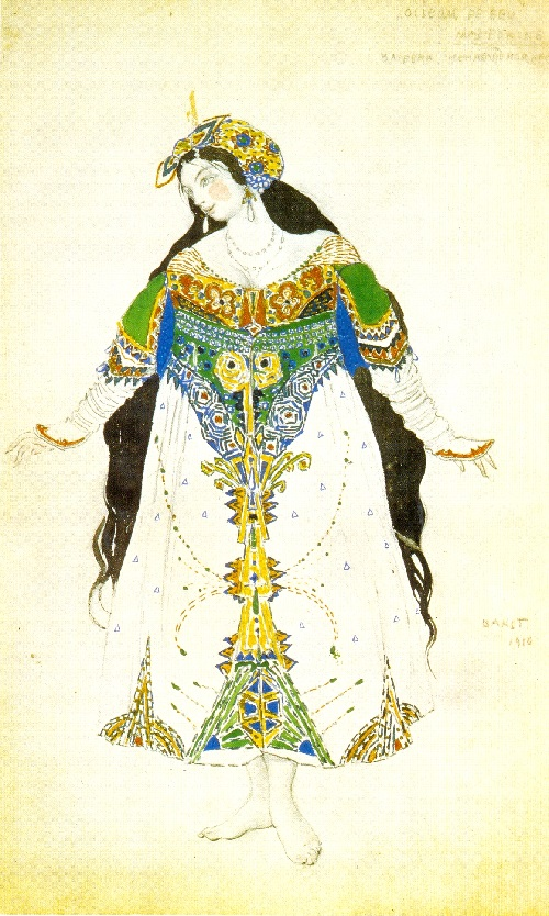 Bakst. Costume design for the Tsarevna in Stravinsky's ballet L'Oiseau de Feu.1910 (Diaghilev company). 1910. Theater Museum, St. Petersburg