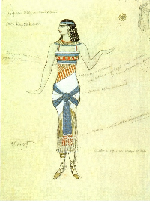 Leon Bakst. Costume design for the dancer Tamara Karsavina. 1907. World of Art movement for theater