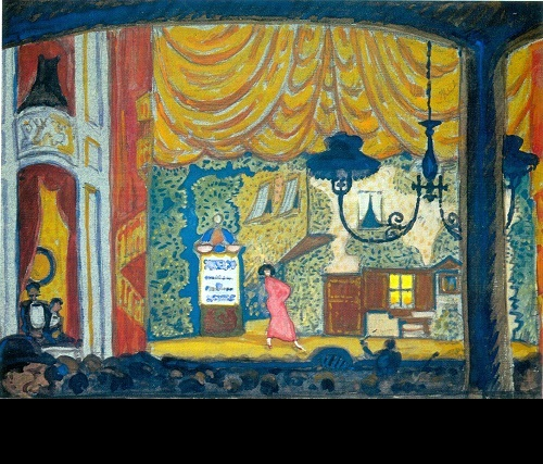 Mstislav Dobuzhinsky. Denmark. A Small Theater. 1912. Gouache and lead pencil on gray paper mounted on cardboard. Pushkin Museum of Fine Arts, Moscow