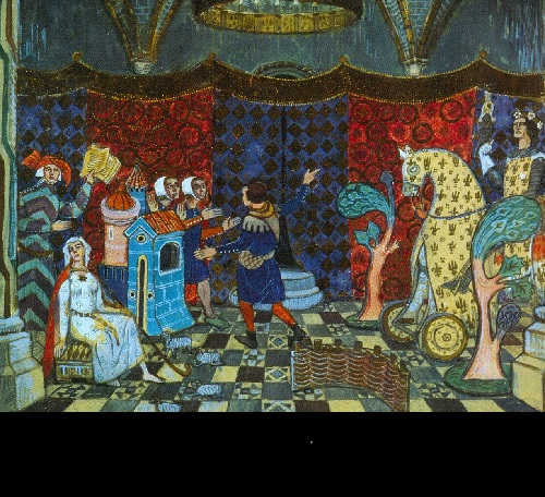 Mstislav Dobuzhinsky. Set design for de la Halle's pastorale Le jeu de Robin et Marion (St.Petersburg, Antique Theater). 1907. Bakhrushin Theater