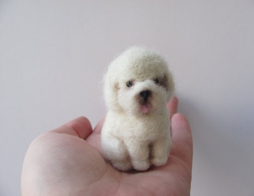 Bichon Needle felted miniature by Russian artist Vera Megorskaya