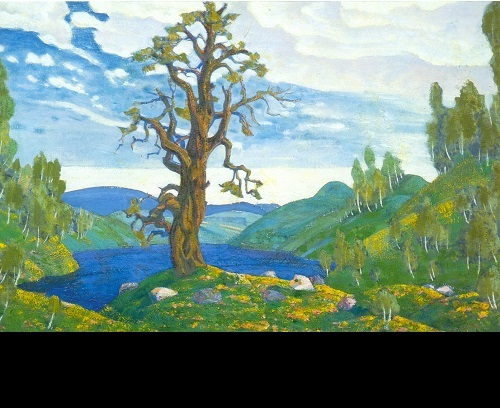 Nicholas Roerich. The Kiss to Earth. Set design for Stravinsky's Le Sacre du Printemps (Diaghilev Company). 1912. Tempera on cardboard. Russian Museum, St. Petersburg